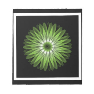 Beautiful Abstract Green Flower Memo Note Pad