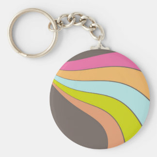 Beautiful Abstract Stripes Basic Round Button Keychain