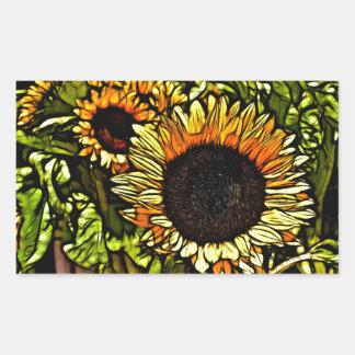 Beautiful abstract sunflower design rectangular sticker
