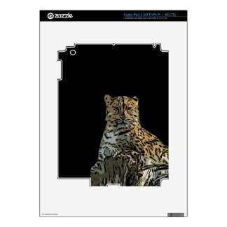 Beautiful Abstract Tiger Black Background Decal For iPad 3