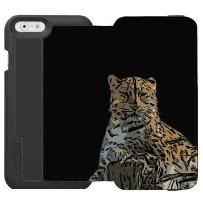 Beautiful Abstract Tiger Black Background iPhone 6/6S Wallet Case