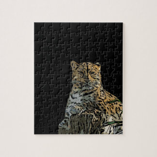 Beautiful Abstract Tiger Black Background Jigsaw Puzzle