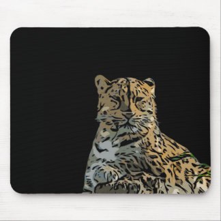 Beautiful Abstract Tiger Black Background Mouse Pad