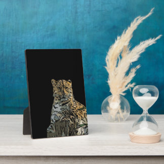 Beautiful Abstract Tiger Black Background Plaque