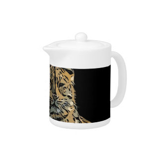 Beautiful Abstract Tiger Black Background Teapot