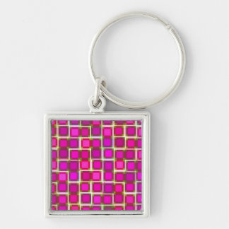 Beautiful Abstract Tile Pattern in Pink Silver-Colored Square Keychain