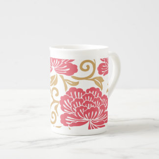 Beautiful Abstract Vintage Red Flower Tea Cup