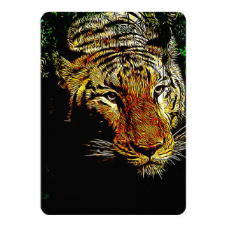 Beautiful abstract wild tiger 5x7 paper invitation card