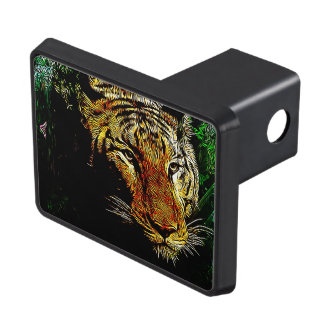 Beautiful abstract wild tiger tow hitch covers