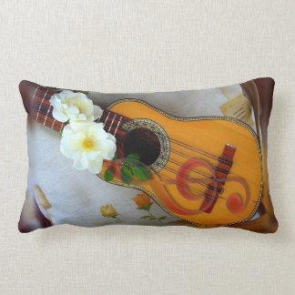 Beautiful acoustic guitar music note white linen lumbar pillow