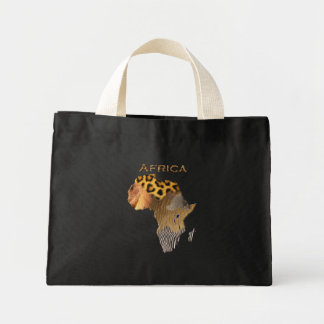 Beautiful Africa Map in Faux Animal Hides Gift Mini Tote Bag