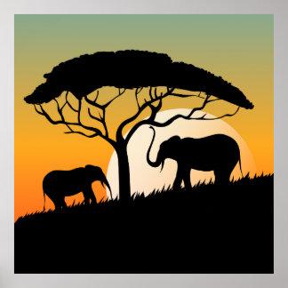 Beautiful Africa Sunset Elephants Illustration Poster