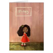 Beautiful African American cartoon girl Card