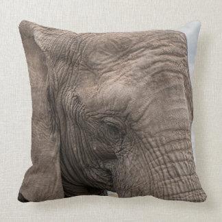 Beautiful african elephant close-up throw pillow