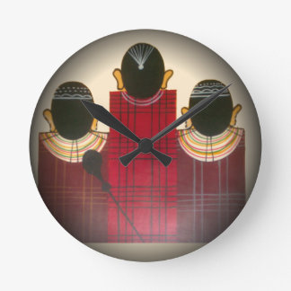 Beautiful African Ethnic Tribal Masai Ornaments.pn Round Clock