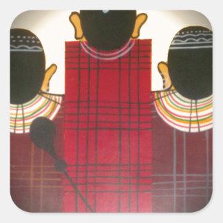 Beautiful African Ethnic Tribal Masai Ornaments.pn Square Sticker