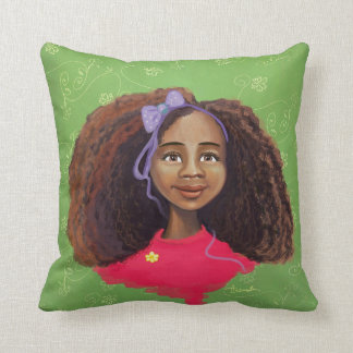 Beautiful African girl portrait American MoJo Pill Throw Pillow