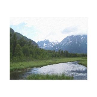 Beautiful Alaskan Creek and Mountains Canvas Print