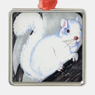 Beautiful Albino Squirrel Metal Ornament