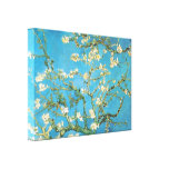 Beautiful almond blossom antique painting blue gre stretched canvas print