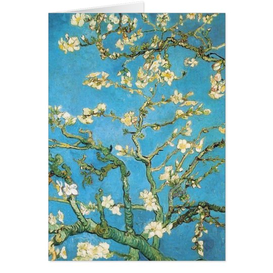 Beautiful almond blossom antique painting card