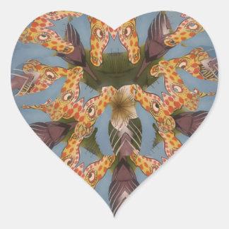 Beautiful amazing Funny African Giraffe pattern de Heart Sticker