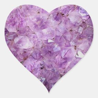 Beautiful amethyst crystals heart sticker
