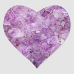 Beautiful amethyst crystals heart stickers