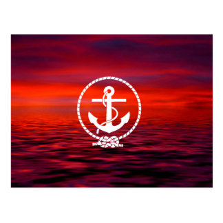 Beautiful Anchor rope Sunrise colourful Cloud Postcard