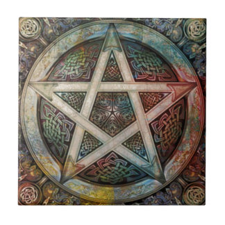 Beautiful And Colorful Pagan Pentacle Tile