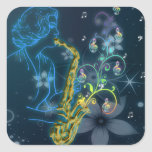 Beautiful and cool Glowing blue lady playing music Stickers