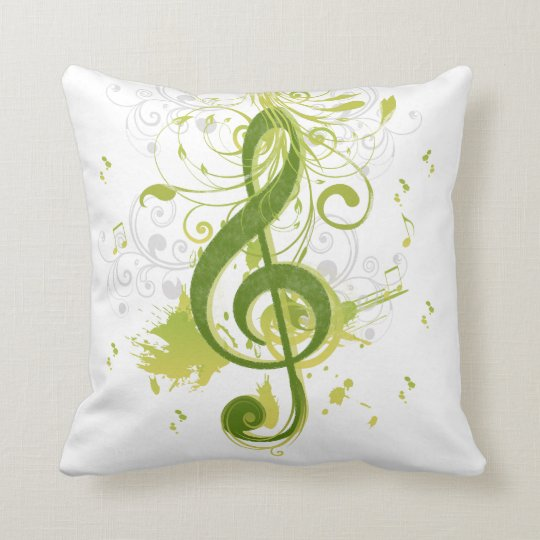 Beautiful and cool music notes with splatter throw pillow