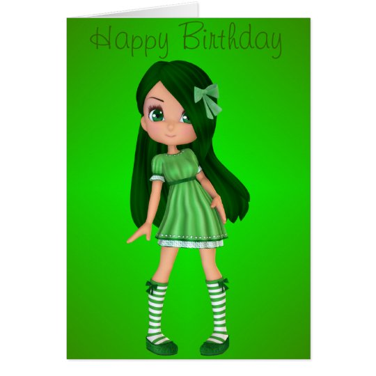 Beautiful and Green Happy Birthday Greeting Card