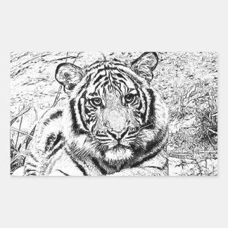 Beautiful and Majestic Bengal Tiger Custom Sketch Rectangular Sticker