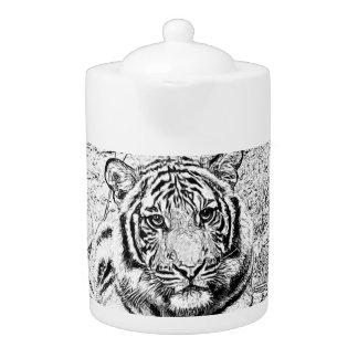 Beautiful and Majestic Bengal Tiger Custom Sketch Teapot