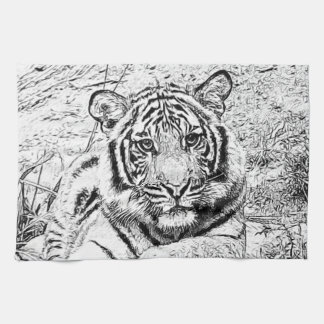 Beautiful and Majestic Bengal Tiger Sketch Hand Towels