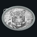 """Beautiful and Majestic Bengal Tiger Sketch Oval Belt Buckle<br><div class=""""desc"""">Beautiful and Majestic Bengal Tiger Custom Photo Sketch in Black and White. """"Bengal tiger"""" tiger nature animal dancingwghosts wildlife African photo custom cat photograph purse &quot;messenger bag&quot; bag cat Tigers live alone and aggressively scent-mark large territories to keep their rivals away. They are powerful nocturnal hunters that travel many miles...</div>"""