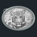"Beautiful and Majestic Bengal Tiger Sketch Oval Belt Buckle<br><div class=""desc"">Beautiful and Majestic Bengal Tiger Custom Photo Sketch in Black and White. ""Bengal tiger"" tiger nature animal dancingwghosts wildlife African photo custom cat photograph purse &quot;messenger bag&quot; bag cat Tigers live alone and aggressively scent-mark large territories to keep their rivals away. They are powerful nocturnal hunters that travel many miles...</div>"