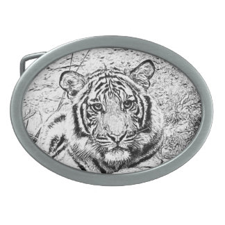 Beautiful and Majestic Bengal Tiger Sketch Oval Belt Buckle