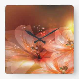 Beautiful and Orange Flowers Square Wall Clock