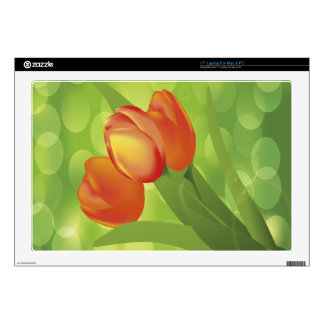 Beautiful and Orange Tulips Decals For Laptops