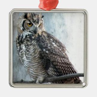 Beautiful and Regal Female Great Horned Owl Metal Ornament