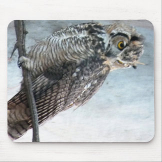 Beautiful and Regal Female Great Horned Owl Mouse Pad