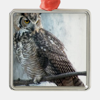 Beautiful and Regal Female Great Horned Owl Christmas Ornament