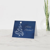 Beautiful and serene, silver tree Merry Christmas Holiday Card