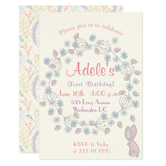 Beautiful and simple girl's 1ST birthday Floral Card