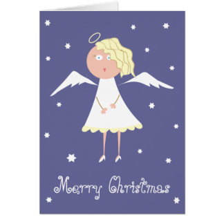 Beautiful Angel and Stars Cute Xmas Greeting Cards