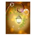 Beautiful animated fairy lantern postcard