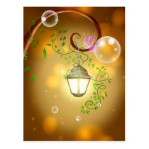 Beautiful animated fairy lantern postcard
