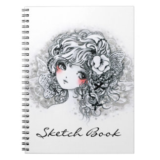 Beautiful anime girl in black and white notebook